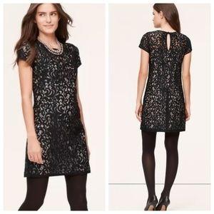 LOFT Black Lace & Nude Cocktail Dress